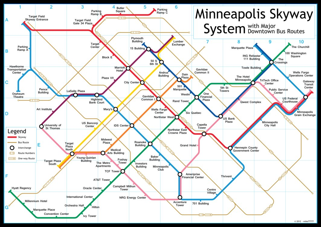 Map of the Minneapolis Skyway System